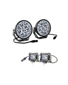 "Adventure Kings Domin8r Xtreme 7"" LED Driving Lights (Pair) + Adventure Kings 4"" LED Light Bar"