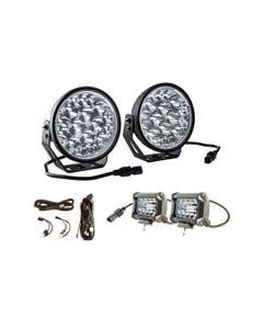 "Adventure Kings Domin8r Xtreme 7"" LED Driving Lights (Pair) + Plug N Play Smart Wiring Harness Kit + 4"" LED Light Bar"