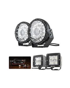 "Kings 8.5"" Laser MKII Driving Lights (pair) + Smart Harness + 3"" LED Work Light - Pair"