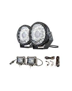 "Kings 8.5"" Laser MKII Driving Lights (pair) + Plug N Play Smart Wiring Harness Kit + 4inch LED Light Bar (Pair)"