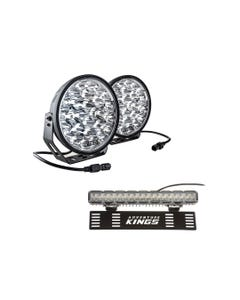 """Adventure Kings Domin8r Xtreme 9"""" LED Driving Lights (Pair) + 15"""" Numberplate LED Light Bar"""