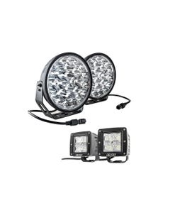 """Adventure Kings Domin8r Xtreme 9"""" LED Driving Lights (Pair) + Adventure Kings 3"""" LED Work Light - Pair"""