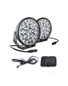 """Adventure Kings Domin8r Xtreme 9"""" LED Driving Lights (Pair) +  Heads Up Display (HUD) Unit"""