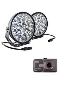 "Adventure Kings Domin8r Xtreme 9"" LED Driving Lights (Pair) + Adventure Kings Dash Camera"