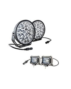 "Adventure Kings Domin8r Xtreme 9"" LED Driving Lights (Pair) + Adventure Kings 4"" LED Light Bar"