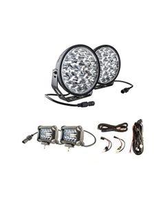 "Adventure Kings Domin8r Xtreme 9"" LED Driving Lights (Pair) + Plug N Play Smart Wiring Harness Kit + 4"" LED Light Bar"