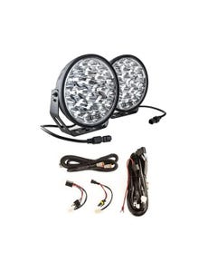 """Adventure Kings Domin8r Xtreme 9"""" LED Driving Lights (Pair) + Plug N Play Smart Wiring Harness Kit"""