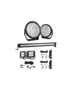 "Kings Lethal 9"" Premium LED Driving Lights (Pair) + 20"" LETHAL MKIII Slim Line LED Light Bar + 3"" Work Lights (Pair) + 2X Smart Harness + LED Light Bar Wiring Harness"