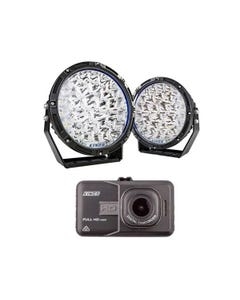 """Adventure Kings 9"""" Lethal LED Driving Lights (Pair) + High-Def Dash Camera"""