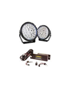 "Kings Lethal 9"" Premium LED Driving Lights + Kings Spotlight Wiring Harness"
