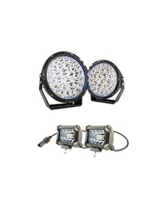 "Kings Lethal 9"" Premium LED Driving Lights (Pair) + 4"" LED Light Bar (Pair)"