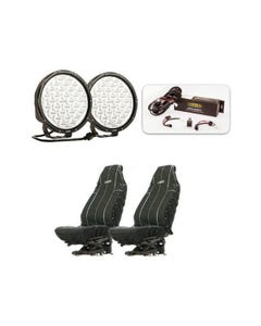 """Essential 9"""" Driving Light Pack + Heavy Duty Seat Covers"""