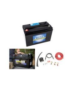 Adventure Kings AGM Deep Cycle Battery 115AH + Maxi Battery Box + Dual Battery System