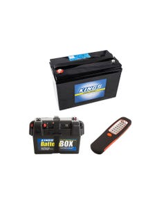 Adventure Kings AGM Deep Cycle Battery 115AH + Battery Box + Illuminator 24 LED Work Light