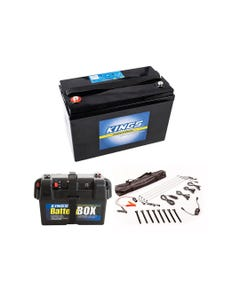 Adventure Kings AGM Deep Cycle Battery 115AH + Battery Box + Illuminator 4 Bar Camp Light Kit