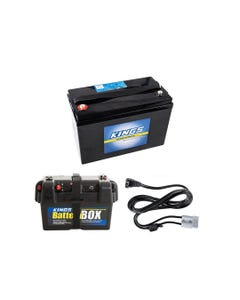 Adventure Kings AGM Deep Cycle Battery 115AH + Battery Box + Kings 1.8m 12v Fridge Cable