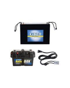 Adventure Kings AGM Deep Cycle Battery 98AH + Battery Box + Kings 1.8m 12v Fridge Cable