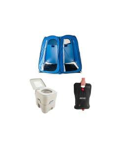 Adventure Kings Portable Camping Toilet + Double Ensuite/Shower Tent + Solar Shower