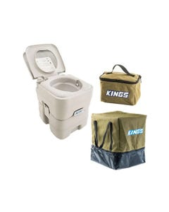 Adventure Kings Portable Camping Toilet + Toiletry Canvas Bag + Camping Toilet Bag