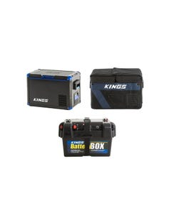 Adventure Kings 45L Camping Fridge + 45L Camping Fridge Cover + Battery Box