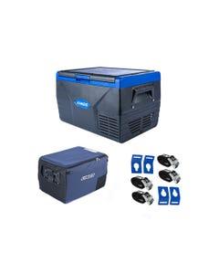 Kings 50L Fridge / Freezer + 50L Fridge Cover +  Portable Fridge Tie-Down Kit (4-Pack)