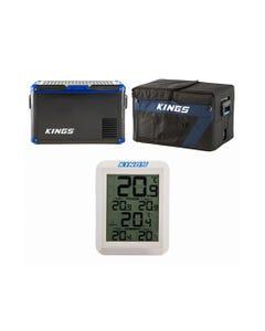 Adventure Kings 60L Camping Fridge/Freezer + 60L Camping Fridge Cover + Wireless Fridge Thermometer