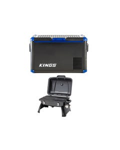 Adventure Kings 60L Camping Fridge/Freezer + Gasmate Voyager Portable Gas BBQ