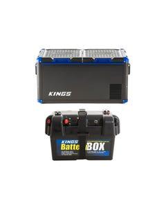 Adventure Kings 75L Stayzcool Portable Fridge/Freezer + Adventure Kings Battery Box