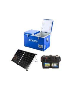 Adventure Kings 70L Camping Fridge/Freezer + Kings Premium 160w Solar Panel with MPPT Regulator + Battery Box