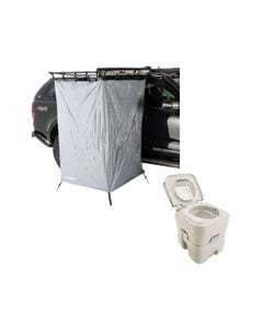 Kings Instant Ensuite Awning Shower Tent + Adventure Kings Portable Camping Toilet