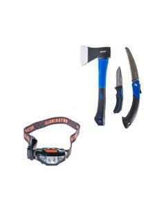 Kings Three Piece Axe, Folding Saw and Knife Kit + Illuminator LED Head Torch