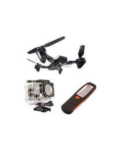 Adventure Kings Cyclone Drone + Adventure Kings Action Camera + Illuminator 24 LED Work Light