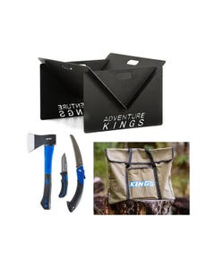 Adventure Kings Portable Steel Fire Pit + Three Piece Axe, Folding Saw and Knife Kit + Fire Pit Canvas Bag