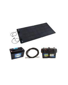 Adventure Kings 160W Semi-Flexible Solar Panel + 10m Lead For Solar Panel Extension + AGM Deep Cycle Battery 115AH + Battery Box