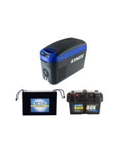 Kings 15L Centre Console Fridge/Freezer + AGM Deep Cycle Battery 98AH + Battery Box