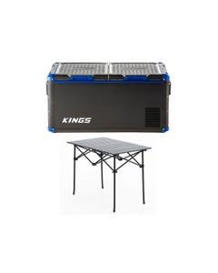 Kings 90L Camping Fridge Freezer | Dual Zone + Aluminium Roll-Up Camping Table