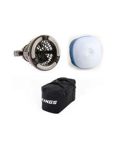 Adventure Kings Mini Lantern + 2in1 LED Light & Fan + 40L Duffle Bag