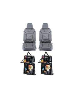 Kings Universal Premium Canvas Seat Covers (Pair) + 2x Premium Car Seat Organiser with Folding Table