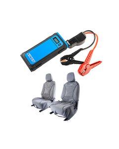 Kings Universal Premium Canvas Seat Covers (Pair) + Adventure Kings 1000A Lithium Jump Starter