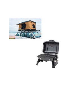 Adventure Kings 'Kwiky' Pop Up Roof Top Tent + Gasmate Voyager Portable BBQ