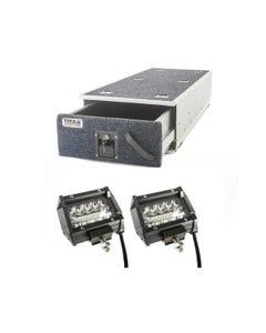 """Titan Single Ute Drawer 1300mm + 4"""" LED Light Bar (Pair)"""