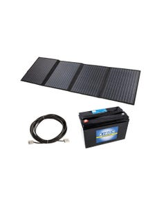 Adventure Kings 120W Portable Solar Blanket + 10m Lead For Solar Panel Extension + AGM Deep Cycle Battery 115AH