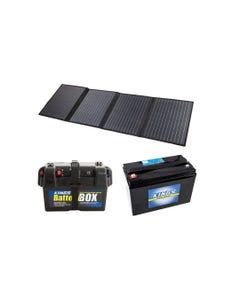 Adventure Kings 120W Portable Solar Blanket + Battery Box + AGM Deep Cycle Battery 115AH