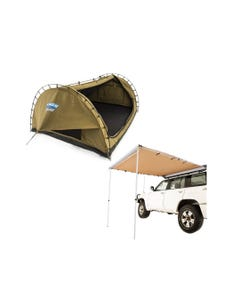 Kings Big Daddy Deluxe Double Swag + Adventure Kings Awning 2.5x2.5m | Camping Swag Tent