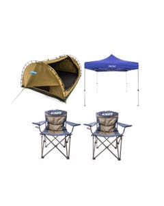 Kings Big Daddy Deluxe Double Swag Tent + Gazebo 3m x 3m + 2x Throne Camping Chairs