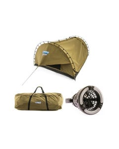 Kings Big Daddy Deluxe Double Swag + Swag Canvas Bag + 2in1 LED Light & Fan| Camping Swag Tent