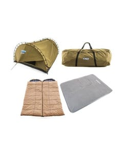 Kings Big Daddy Deluxe Double Swag Tent + 2x Premium Sleeping bag + Camping Swag Canvas Bag + 100mm Foam Self Inflating Queen Mattress