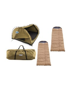 Kings Big Daddy Deluxe Double Swag Tent + 2x Premium Sleeping bag + Camping Swag Canvas Bag