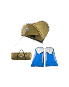 Kings Big Daddy Deluxe Double Swag Tent + 2x Hooded Sleeping Bag + Camping Swag Canvas Bag