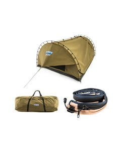 Kings Big Daddy Deluxe Double Swag Tent + Camping Swag Canvas Bag + LED Strip Light